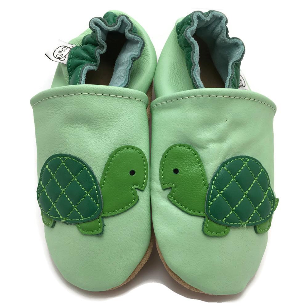 2c45c18e60e20 Chaussons Bébé Cuir Souple – Vert Avec Tortue — Panda Feet